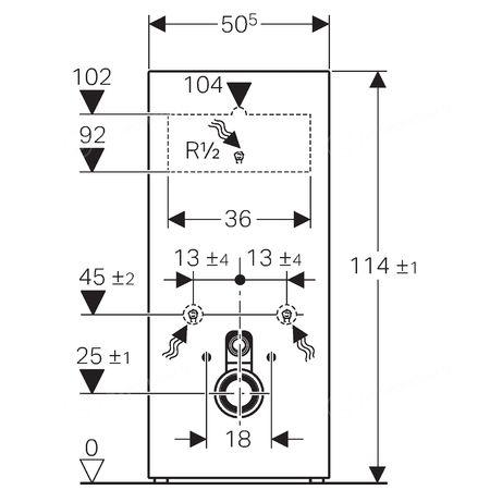 Geberit Сантехнический модуль для подвесных унитазов Monolith H114 стекло белое 131.031.SI.5