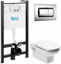 Комплект Roca Dama senso подвесной унитаз + инсталляция + кнопка