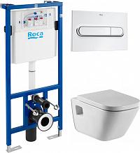 Комплект Инсталляция Roca DUPLO WC с кнопкой хром + Унитаз Roca Gap безободковый