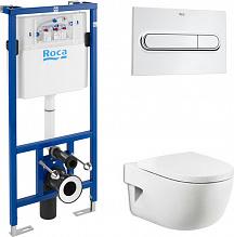 Комплект Инсталляция Roca DUPLO WC с кнопкой хром + Унитаз Roca Meridian