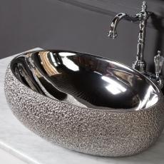 Раковина BOHEME ОВАЛ 48х34х15см серебро