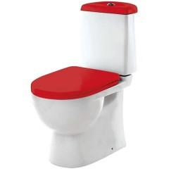 """Унитаз-компакт """"Best Color Red SL DМ"""" двухрежимный белый (сиденье дюропласт с микролифтом, арматура Geberit) SANITA LUXE"""